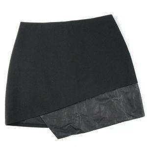 Alice + Olivia sz8 Mini Skirt Black Half Leather